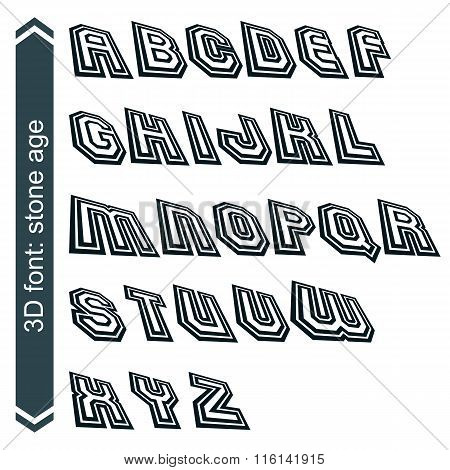 Geometric Retro Style Graphic Font In Rotation, Vector Alphabet.