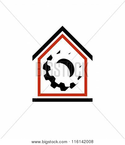 Manufactory Conceptual Symbo, Vector House With 3D Cog Wheel. Industry And Production Theme Element,