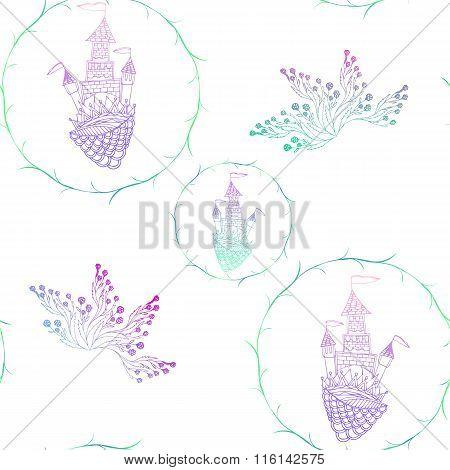 Seamless pattern. Castle princess