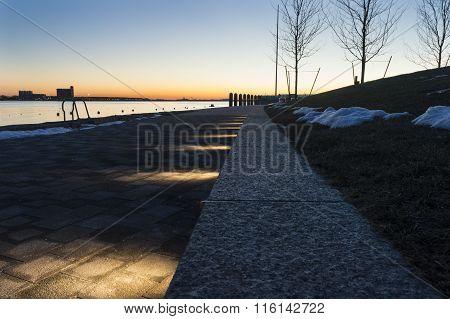 Boston Harborwalk Near Sunrise