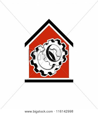 Manufactory Vector Conceptual Symbol, House With 3D Cog Wheel. Industry And Production Theme Element