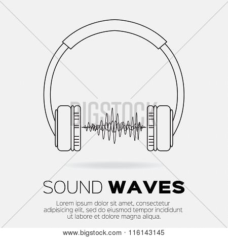 Vector musical dj style - headphones with sound waves.