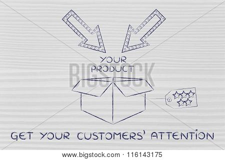 Packaging With Label, Arrows And Text Get Your Customers' Attention