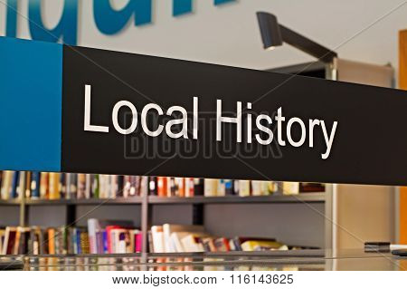 LIVERPOOL UK 16TH JAN 2016. Local History Section Sign Inside A Modern Public Library