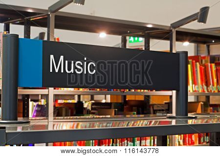 LIVERPOOL UK 16TH JAN 2016. Music Section Sign Inside A Modern Public Library