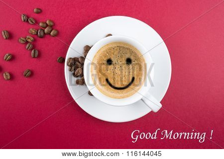 Good morning coffee cup background with coffe beans