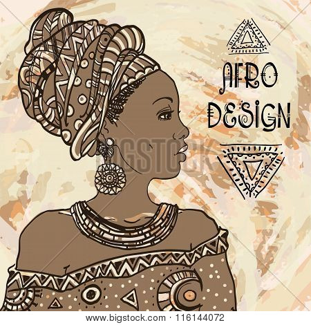 Ethnic young african  woman portrait on grangebackground . Vector illustration. Afro design