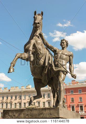 Sculpture Of Man And Horse On The Anichkov Bridge.