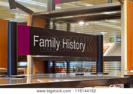 LIVERPOOL UK 16TH JAN 2016. Family History Section Sign Inside A Modern Public Library
