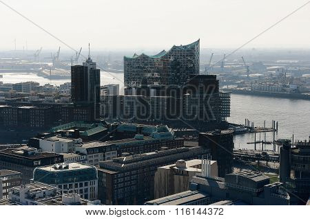 View Of The Hanseatic Trade Center And Concert Hall Elbphilharmo