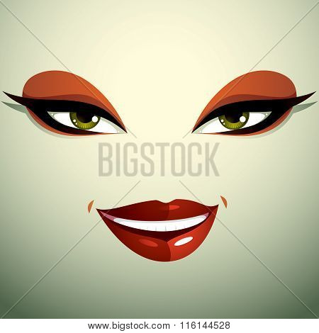 Face Makeup, Lips And Eyes Of An Attractive happy Woman