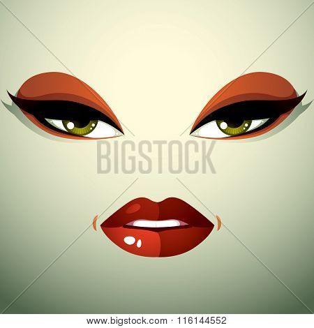 Face Makeup, Lips And Eyes Of An Attractive Woman Displaying Anger. Facial Emotional Expression.