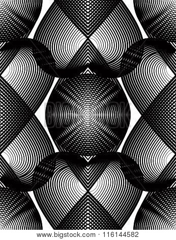 Vector Pattern With Black Graphic Lines, Kaleidoscope Abstract Background With Overlay Ornament. Mon