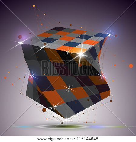 Dimensional Twisted Shiny Cube With Lights Effect. 3D Colorful Design Element With Connected Lines,