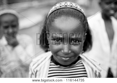 OROMIA, ETHIOPIA-APRIL 20, 2015: Closeup portrait of an unidentified child in the Oromia region of Ethiopia