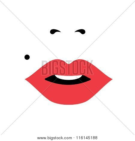 Girl Face With Red Lipstick, Women's Day Concept Art