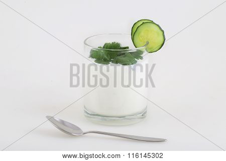 Yoghurt With A Cucumber And Green Parsley