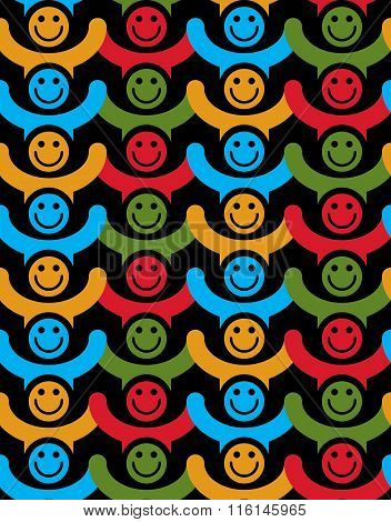Seamless Background With Colorful Faces. People With Positive Emotions