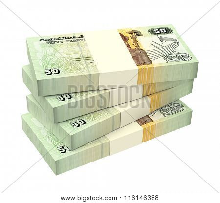 Egyptian piastre bills isolated on white background. Computer generated 3D photo rendering.