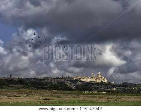 Maltese landscape, Malta, Mdina on cloudy day in