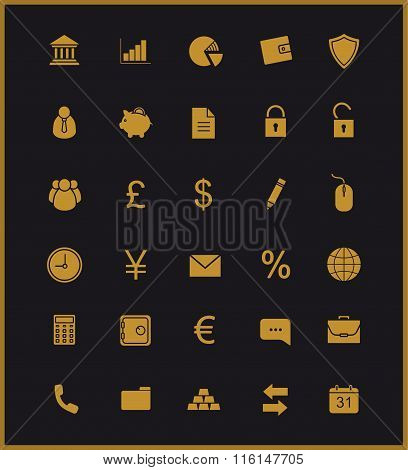 Finance and banking icons set. Gold