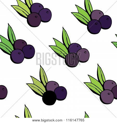Seamless Pattern With Acai Berries