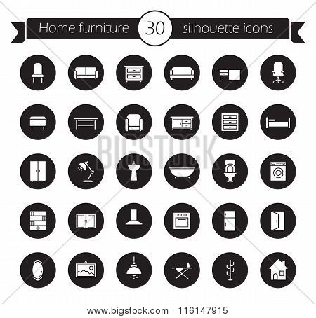 Furniture icons set. Black