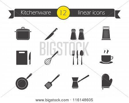 Kitchenware silhouette icons set