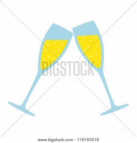 Champagne Glass isolated on white background. Wedding