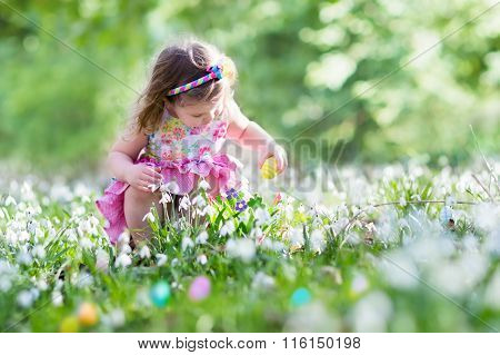 Little Girl On Easter Egg Hunt