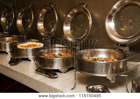 Food Buffet In Restaurant. Close Up.