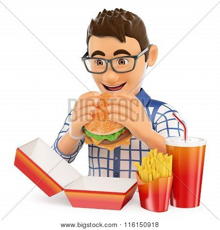 3D Young Man Eating A Hamburger With Fries And Drink. Fast Food Concept
