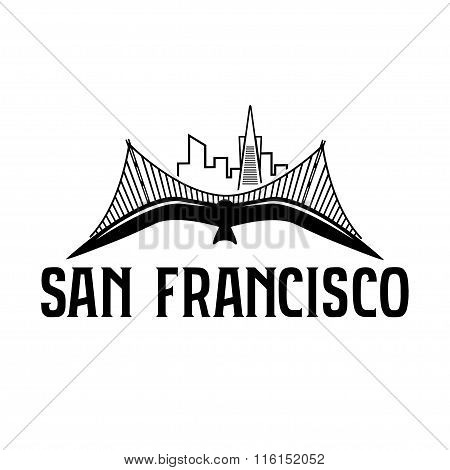 Skyline Of San Francisco And Seagull Vector Design Template