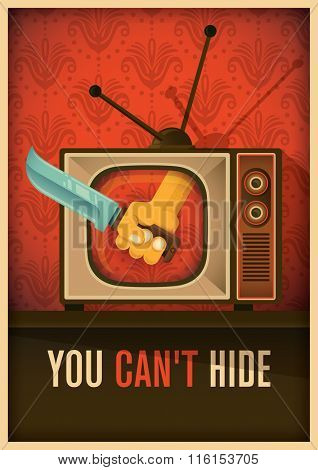 Conceptual poster with tv. Vector illustration.