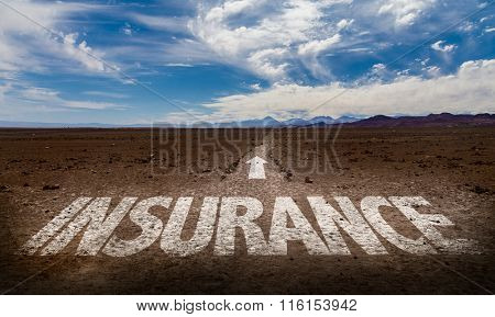 Insurance written on desert road