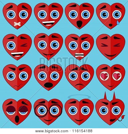 Heart emoticons vector set