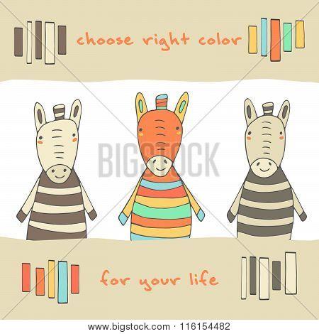 Postcard with zebras