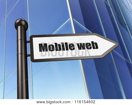 Web design concept: sign Mobile Web on Building background