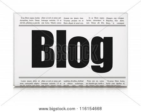 Web development concept: newspaper headline Blog