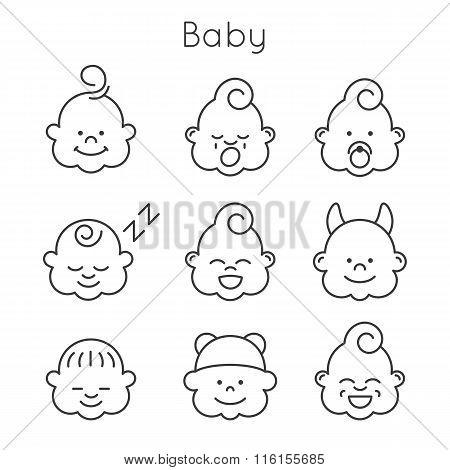 Children faces icon set.
