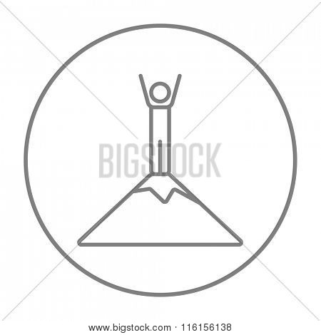 Man standing on top of mountain line icon.