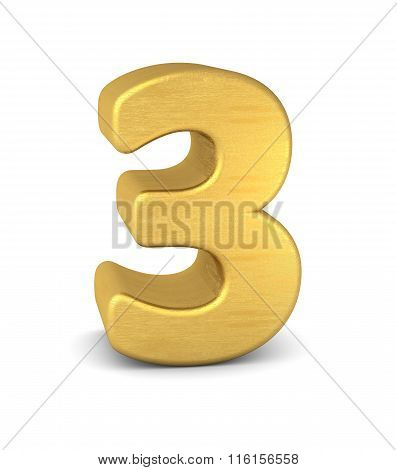 3D Number 3 Gold
