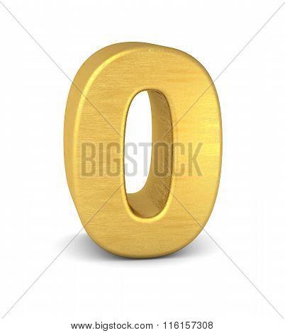 3D Number 0 Gold