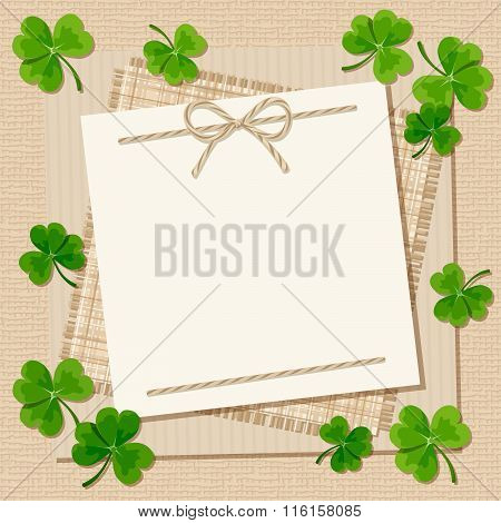 St. Patrick's day card with shamrock on a sacking background. Vector eps-10.