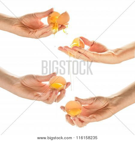 Collage With Four Women Hands Crack Eggs. Isolated On White Background