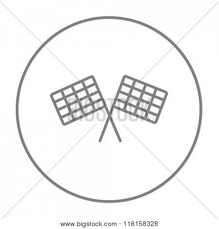 Two checkered flags line icon.
