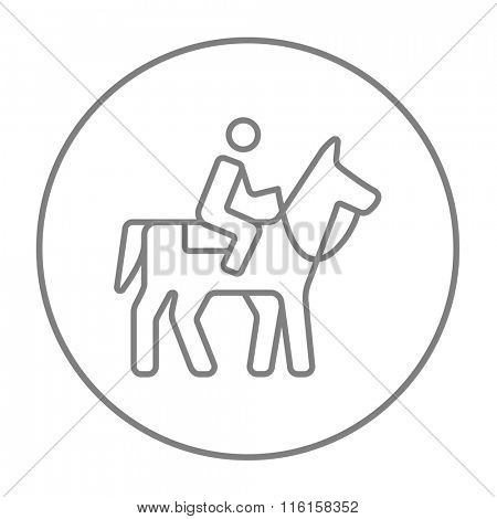 Horse riding line icon.