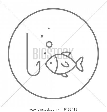 Fish with hook line icon.