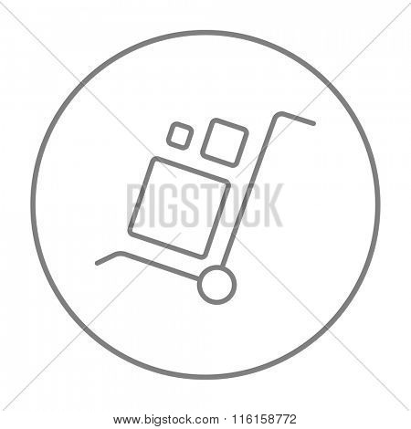 Shopping handling trolley line icon.