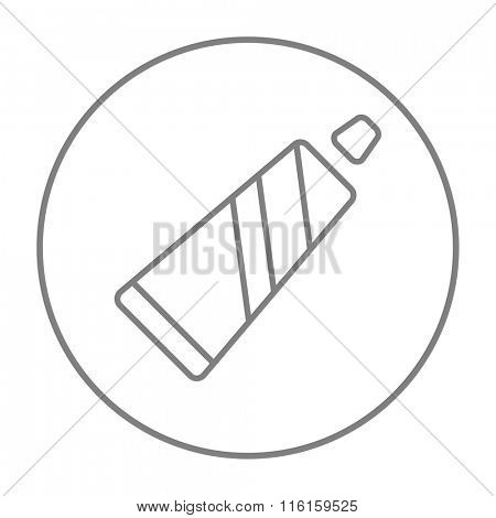 Tube of toothpaste line icon.